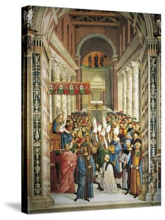 Italy, Siena, Cathedral, Piccolomini Library, Coronation of Pope Pius II--Stretched Canvas Print