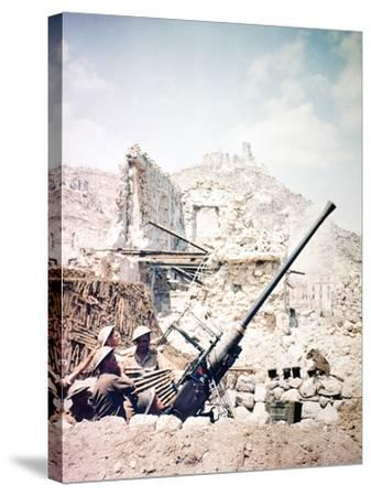 British Soldiers with a Bofors 40MM Anti-Aircraft Gun Below Monte Cassino, Italy, April 1944--Stretched Canvas Print