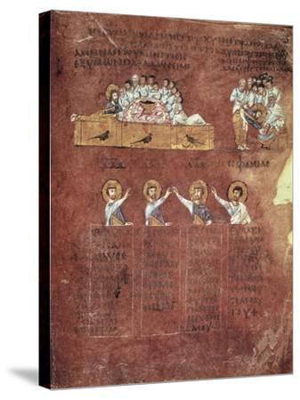 Last Supper and the Washing of Feet, Miniature from the Gospels Called Rossanensis--Stretched Canvas Print