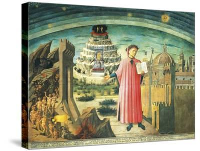 Portrait of Dante Alighieri, Florence and the Allegory of the Divine Comedy--Stretched Canvas Print