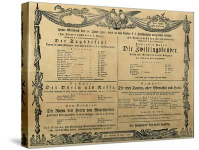 Austria, Vienna, Poster of Franz Schubert's Operetta the Twin Brothers, June 14, 1820--Stretched Canvas Print