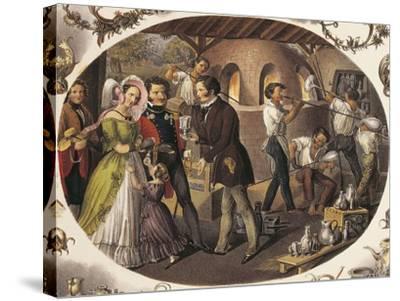 Austria, Vienna, Glass Blowers in their Workshop--Stretched Canvas Print