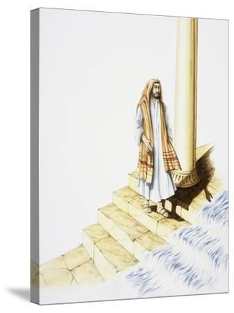 Ezekiel's Vision of Water Flowing Down from Temple--Stretched Canvas Print