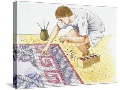 Ancient Rome, Man Making Tile Floor--Stretched Canvas Print
