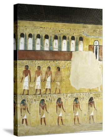 Egypt, Valley of the Kings, Tomb of Seti I, Mural Paintings in Burial Chamber from 19th Dynasty--Stretched Canvas Print