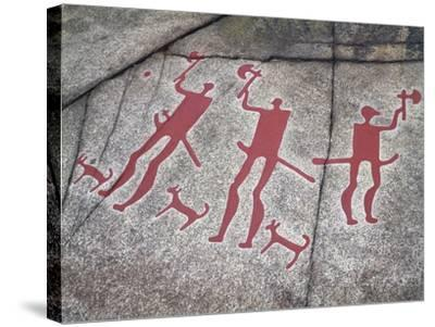 Sweden, Tanum, Tanumshede, Nordic Bronze Age Rock Carvings Depicting Warriors with Axes--Stretched Canvas Print