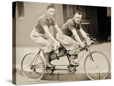Two Men Wearing Plus-Fours on a Tandem, Sydney, Australia, 1933--Stretched Canvas Print