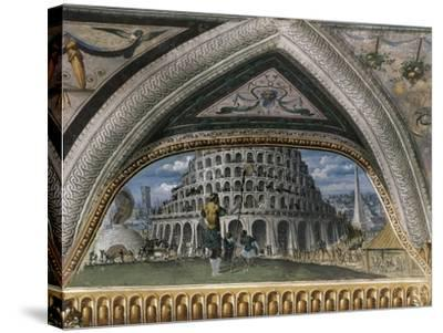 Biblical Scene and Tower of Babel--Stretched Canvas Print