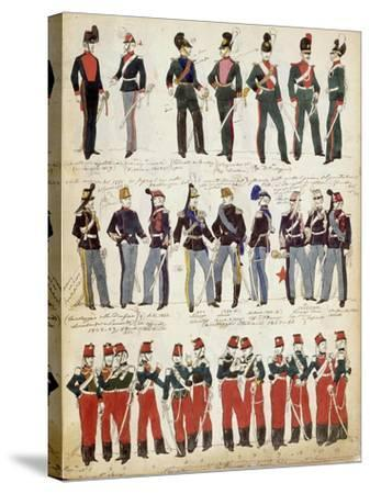 Various Italian Uniforms in Common Use around 1860--Stretched Canvas Print