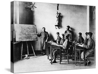 Lessons for Wounded French African Soldiers: a Wounded French Schoolmaster Teaching in His School--Stretched Canvas Print