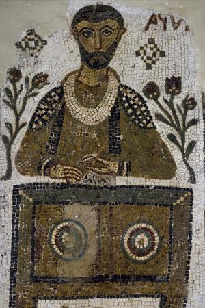 Tomb Mosaic Depicting Scribe, from Tabarka, Tunisia, Early Christian Period, 4th-5th Century--Stretched Canvas Print