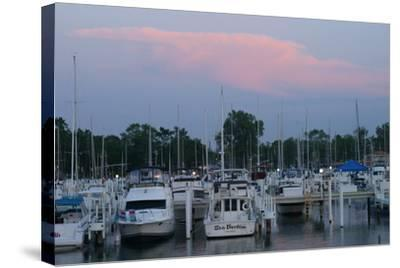 Boat docks at sunset, Indiana Dunes, Indiana, USA-Anna Miller-Stretched Canvas Print