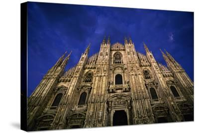 Italy, Lombardy, Milan, Duomo, Florence Cathedral at Dusk-Walter Bibikow-Stretched Canvas Print