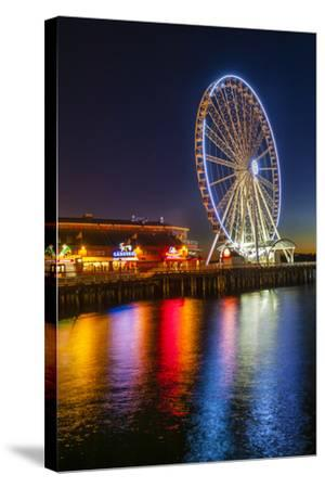USA, Washington, Seattle. the Seattle Great Wheel on the Waterfront-Richard Duval-Stretched Canvas Print