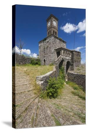 Albania, Gjirokastra, Castle Clock Tower-Walter Bibikow-Stretched Canvas Print