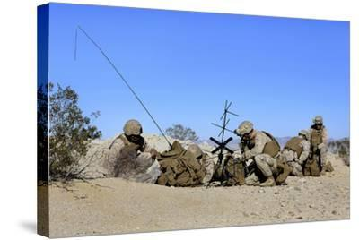 U.S. Marines Setup Communication Equipment and Conduct Radio Checks--Stretched Canvas Print
