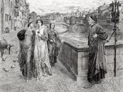 Dante and Beatrice--Stretched Canvas Print