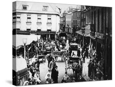 British Market Scene--Stretched Canvas Print