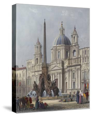 Rome, S'Agnese C1840-G B Moore-Stretched Canvas Print