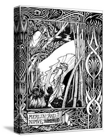 Merlin and Nimue-Aubrey Beardsley-Stretched Canvas Print