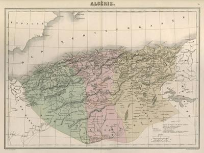 Map, Africa, Algeria C1850-AT Chartier-Stretched Canvas Print