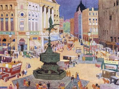 London, Piccadilly Circus-Edith Mary Garner-Stretched Canvas Print