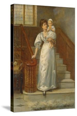On the Staircase-George Goodwin Kilburne-Stretched Canvas Print