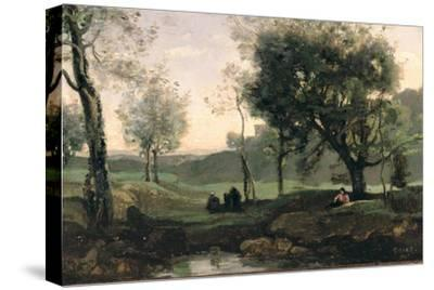 Sunset: Figures under Trees-Jean-Baptiste-Camille Corot-Stretched Canvas Print