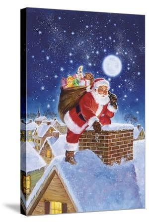 Santa on Rooftop-Hal Frenck-Stretched Canvas Print