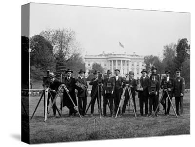 Press Correspondents and Photographers on White House Lawn--Stretched Canvas Print