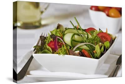 Green Salad in Bowl-Martin Harvey-Stretched Canvas Print