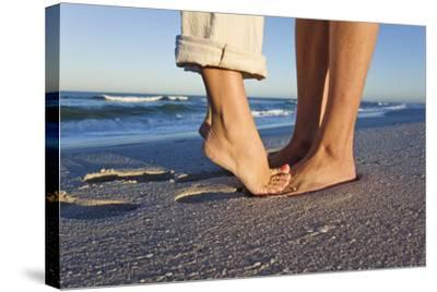 Feet of Couple Hugging on Beach-Martin Harvey-Stretched Canvas Print