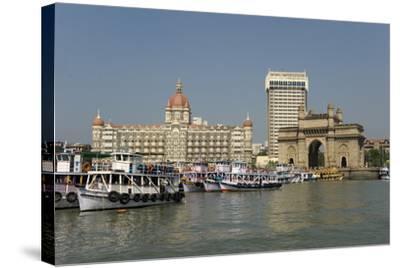 Gateway of India on the Dockside Beside the Taj Mahal Hotel, Mumbai, India, Asia-Tony Waltham-Stretched Canvas Print