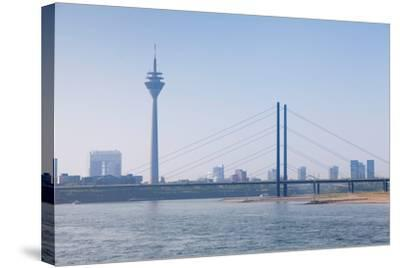 Rheinturm Tower and Rheinkniebrucke Bridge, Dusseldorf, North Rhine Westphalia, Germany--Stretched Canvas Print