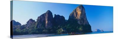 Cliff on the Beach, Railay Beach, Krabi, Krabi Province, Thailand--Stretched Canvas Print