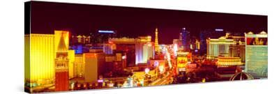 City Lit Up at Night, Las Vegas, Clark County, Nevada, USA--Stretched Canvas Print