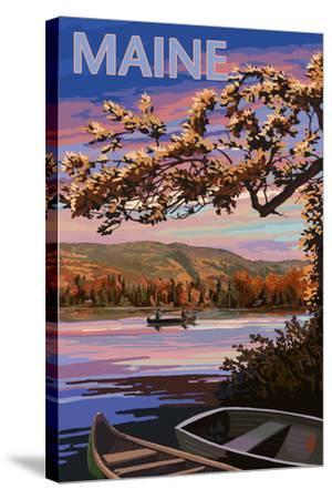 Maine - Lake at Dusk-Lantern Press-Stretched Canvas Print