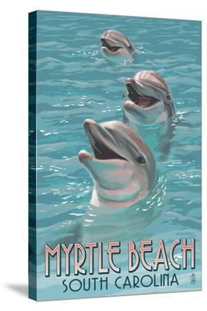 Myrtle Beach, South Carolina - Dolphins-Lantern Press-Stretched Canvas Print