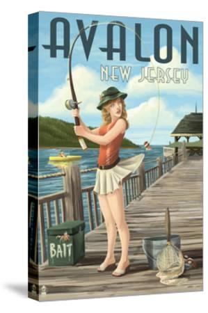 Avalon, New Jersey - Fishing Pinup-Lantern Press-Stretched Canvas Print