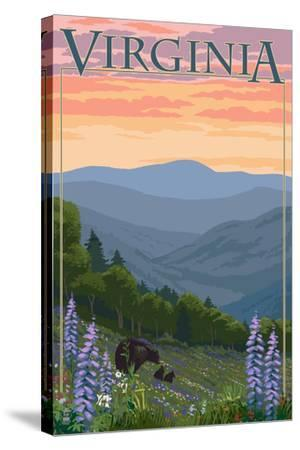 Virginia - Black Bear and Cubs Spring Flowers-Lantern Press-Stretched Canvas Print