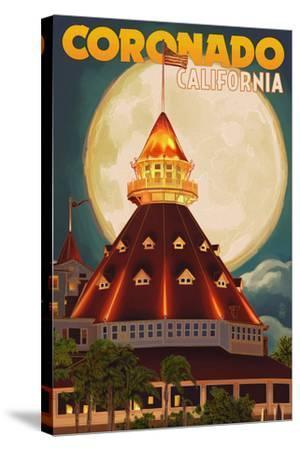 San Diego, California - Hotel Del Coronado and Moon-Lantern Press-Stretched Canvas Print