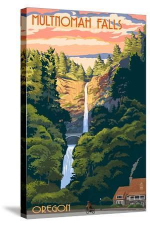 Multnomah Falls, Oregon - Sunset-Lantern Press-Stretched Canvas Print
