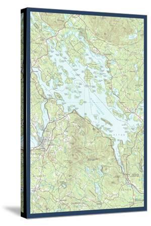 Lake Winnipesaukee, New Hampshire - Map Only-Lantern Press-Stretched Canvas Print