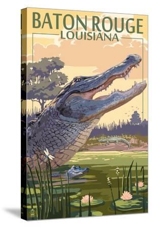 Baton Rouge, Louisiana - Alligator Scene-Lantern Press-Stretched Canvas Print