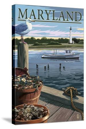 Maryland - Blue Crab and Oysters on Dock-Lantern Press-Stretched Canvas Print