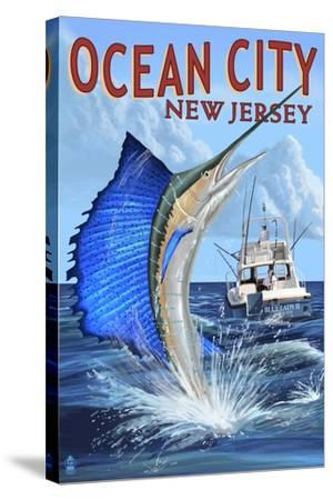 Ocean City, New Jersey - Sailfish Deep Sea Fishing-Lantern Press-Stretched Canvas Print