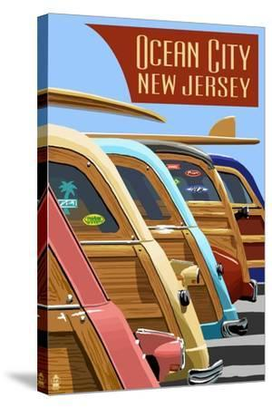 Ocean City, New Jersey - Woodies Lined Up-Lantern Press-Stretched Canvas Print