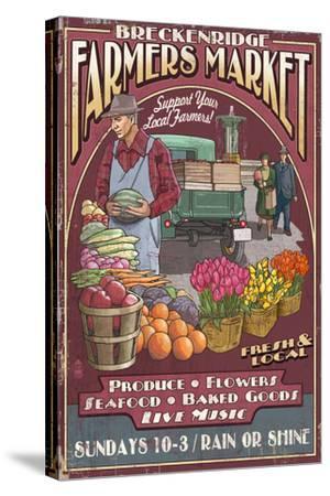 Breckenridge, Colorado - Farmers Market Vintage Sign-Lantern Press-Stretched Canvas Print