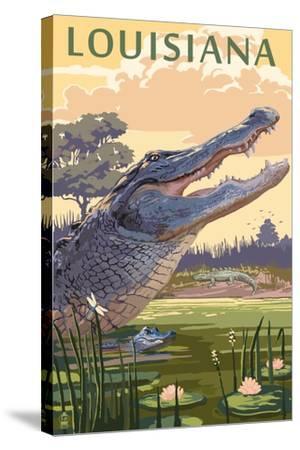 Louisiana - Alligator and Baby-Lantern Press-Stretched Canvas Print