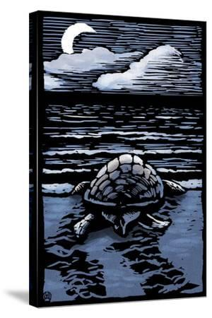 Sea Turtle on Beach - Scratchboard-Lantern Press-Stretched Canvas Print